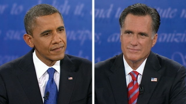 President Barack Obama and former Massachusetts Gov. Mitt Romney during the third and final presidential debate in Boca Raton, FL on Oct. 22, 2012 (Courtesy of ABC News)