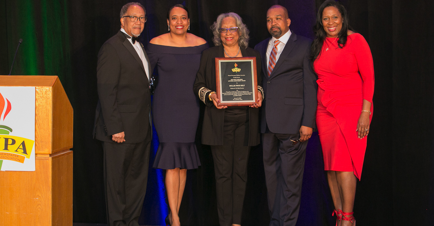 An annual highlight of the conference was the 2020 NNPA Publisher Lifetime Achievement Award, which was presented to The Dallas Examiner's distinguished publisher, Mollie Finch Belt (Pictured are Dr. Benjamin F. Chavis, Jr., NNPA President and CEO, Dr. Melanie Belt, Mollie Finch Belt, James Belt III, and Karen Carter Richards, NNPA Chair and publisher of the Houston Forward Times).