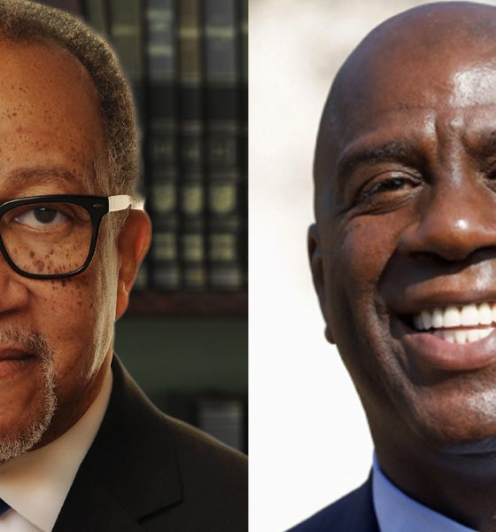 "Dr. Benjamin F. Chavis, Jr., President and CEO of the National Newspaper Publishers Association (NNPA) and Earvin ""Magic"" Johnson, majority owner of EquiTrust, the nation's largest minority-owned insurance company."