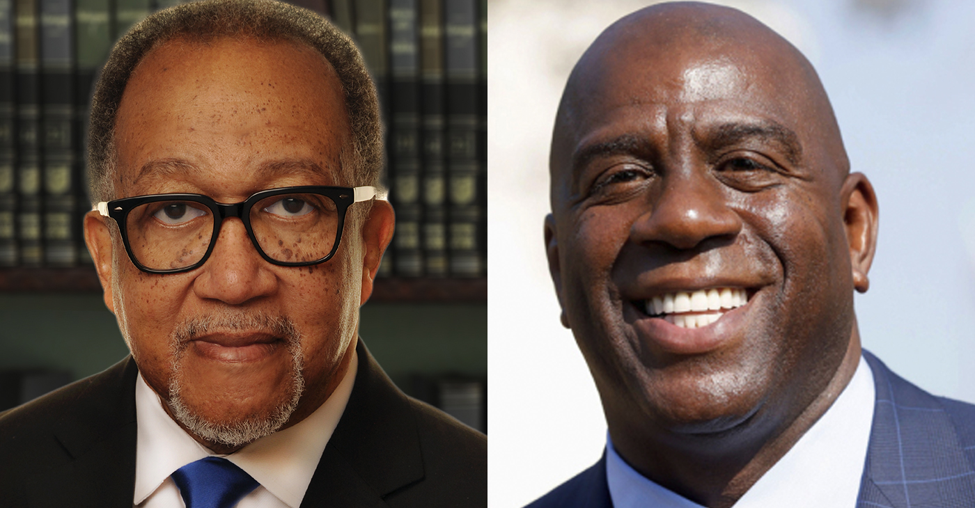 """Dr. Benjamin F. Chavis, Jr., President and CEO of the National Newspaper Publishers Association (NNPA) and Earvin """"Magic"""" Johnson, majority owner of EquiTrust, the nation's largest minority-owned insurance company."""